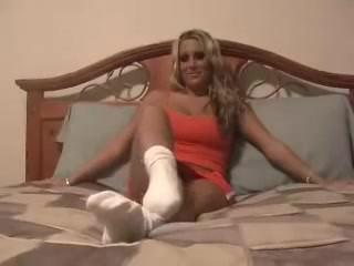 Hot blonde goddess white socks to bare feet POV