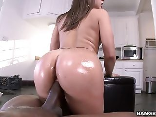 Round oiled ass Abella Danger takes black dick