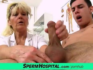 Cfnm handjob at sperm clinic with hot legs grandma Hana