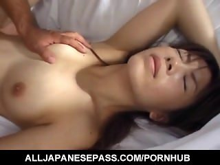Ami Nishimura ends with cum on mouth after is fucked like hell