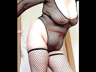 sexy granny fishnets slapping big tits and pussy