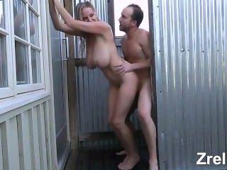 Gorgeous busty mature mom milf hard fuck in bathroom. Huge tits