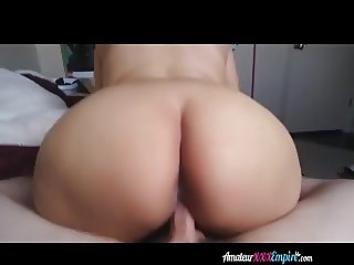 Pregnant girl sucks and rides cock