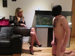 Mistress makes chastity slave suck her strapon before she fucks him