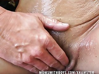 Sexy Busty Mature Oiled Up Photoshoot And Creampied