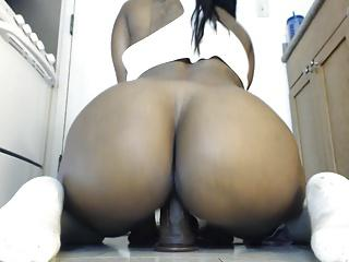 Sexy Ebony Rides Her BBC Dildo