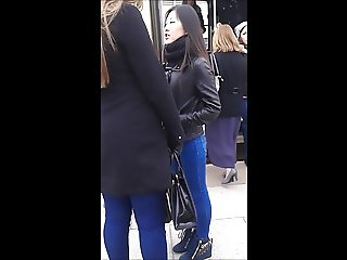 Asian girl with sexy legs and ass in tight jeans
