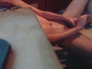 Jerking myself off  Oiled big dick