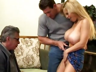 beautiful blonde gets fucked in front of an old
