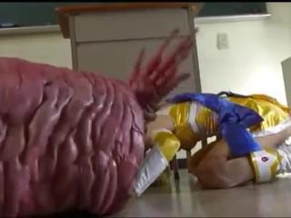Monster eats japanese cheerleader clip.