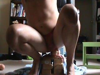 Hands free anal dildo orgasm