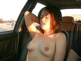 Girl orgasms while made to get naked in car in public