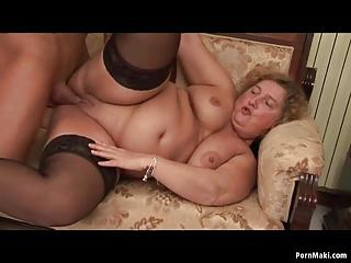 BBW Granny enjoys young dick