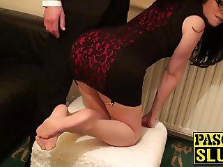 Great looking slut Tiffany Naylor sucking on a big hard dick