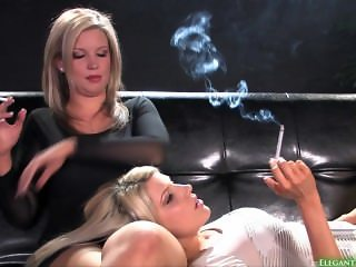 (HD) Two Blonde sexy girls smoking together