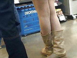 Sexy candid miniskirt stockings girl