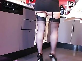 Wish my wife did housework in heels and hose...