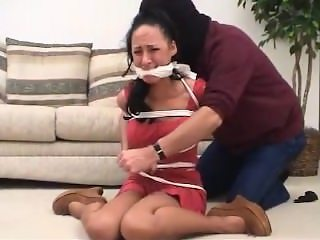 cleave gagged in a red dress