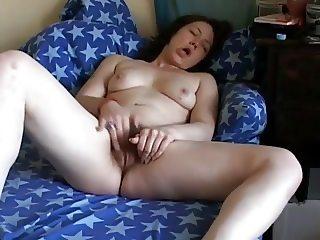 Very Horny Chubby Teen GF with hairy pussy cumming