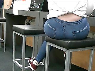 Candid blue jeans teen ass