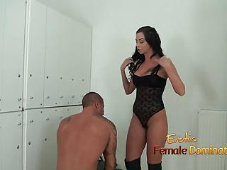 Ruined orgasm from a cruel and long legged exotic dominatrix