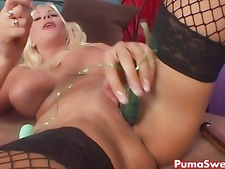 European Blonde Puma Swede Plays with Vibrators!