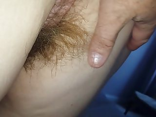 her long hairy pussy hair & brown asshole