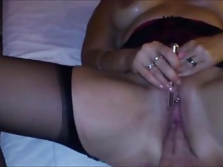 Wife orgasms with sextoy on klit, Fist in pussy