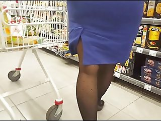 Sexy milf in black pantyhose