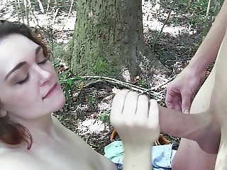 White Slut Amy Fucks In The Woods pt2