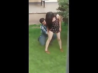 Couple has Fun in Public