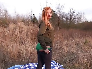Public fucking for sexy redhead teen