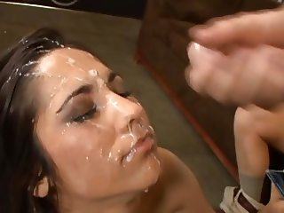 Brunette get a huge facial from many guys