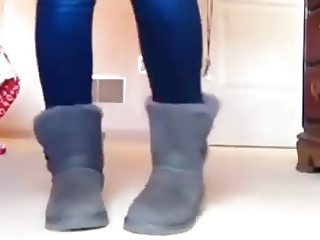 Cute Girl dancing in jeans and uggs