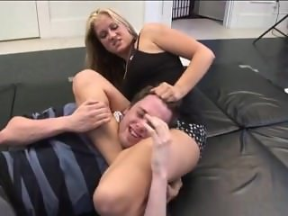 Mixed wrestling with strong blonde