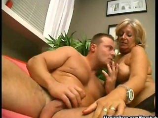 Hairy grandma takes a facial