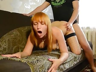Man fuck Russian MILF in fishnet stockings