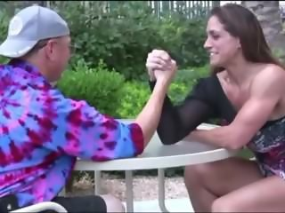female muscle Vs men Mixed Arm Wrestling