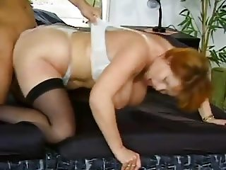 REDhead Mature Kira DP'd By Young Studs