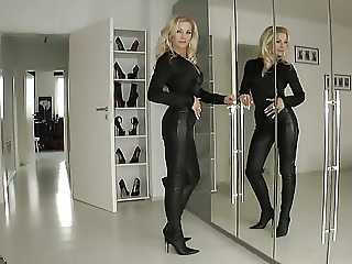 Blonde lady new fetish clothes at home