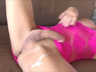 Horny shemale releases a load of sperm