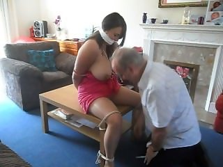 tied and gagged on table