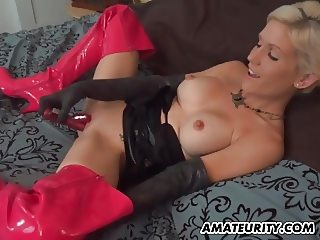 Amateur GF with big boobs toys and sucks with cum in mouth