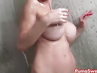 Puma Swede gets Steamy in Hot Shower!
