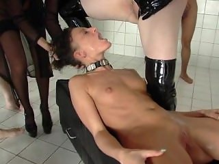 Gangbanged slavegirl must drink her Mistress piss