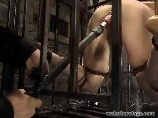 Redhead slave girl water torture then rewarded with orgasm