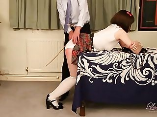 Cheating tranny schoolgirl gets peachy red ass from spanking