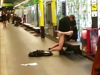 horny couple fucking in public while waiting metro