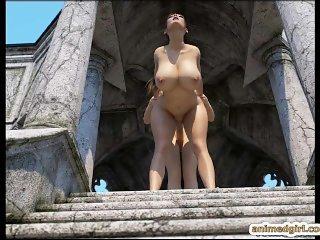 Busty dickgirl anime 3D hard slammed fucked