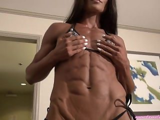 muscle flexing girl